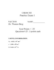 CHEM 202 Fall 2010 Practice Exams
