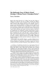 The Diplomatic Face of China's Grand Strategy; A Rising Power's Emerging choice (China Quarterly Dec