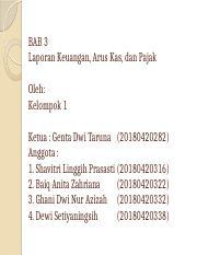 Mk Bab 3 Pptx Bab 3 Laporan Keuangan Arus Kas Dan Pajak Oleh Kelompok 1 Ketua Genta Dwi Taruna 20180420282 Anggota 1 Shavitri Linggih Course Hero