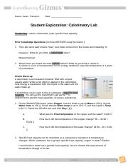 M11L2M1CalorimetryLabGizmo - Name Date Student Exploration ...