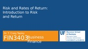 FIN 3403 - Module 4 - Chapter 8 - Risk and Return - Student