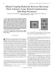 Mutual Coupling Reduction Between Microstrip Patch Antennas Using Slotted-Complementary Split-Ring R