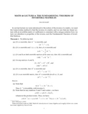 THE FUNDAMENTAL THEOREM OF INVERTIBLE MATRICES