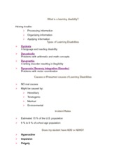 Learning Disabilities Notes