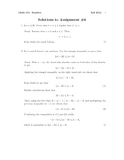 Math101Fall2012Assignment6Solutions