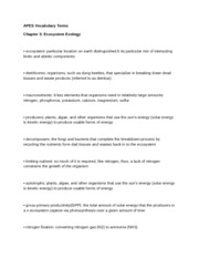 3 Terms- Ecosystem Ecology