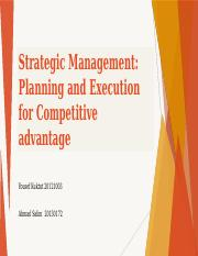 Strategic Management Planning and Execution for Competitive advantage