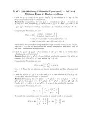 MATH 2260 Fall 2014 Practice Midterm 2 Solutions