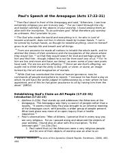 Paul's Speech Areopagus Acts 17 (CM Handout)