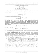 Lecture 3 on Uniform Probabilities