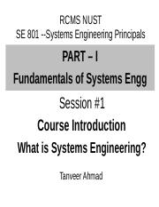 A - Session 1 -2-3 Systems Engineering Introduction