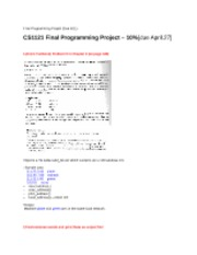 CS1121 Programming Assignment 4-Final Programming Project