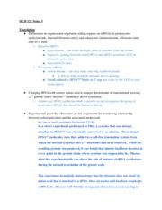 Lecture Notes 5 - Translation and miRNA and dsRNA interference