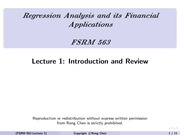 Lecture 1 on Introducytion and Review to Regression Analysis