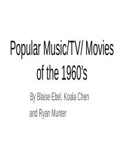 Popular Music/TV/Movies of the 1960's/