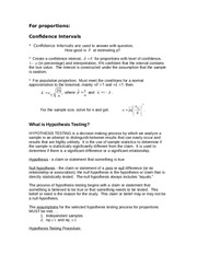 Lecture Notes, Hypothesis Testing
