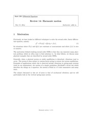 Review 14- Harmonic Motion