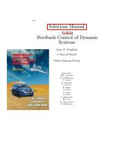 Feedback Control of Dynamic Systems 6th ed - SOLUTIONS