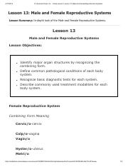 Lesson 13 - Male and Female Reproductive Systems