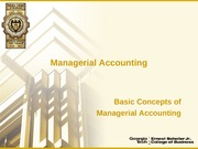 1 - Basic Concepts of Managerial Accounting
