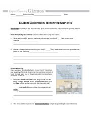 Student Exploration- Identifying Nutrients (ANSWER KEY ...