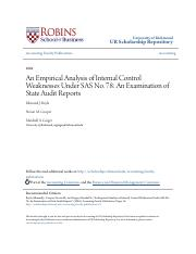 An Empirical Analysis of Internal Control Weaknesses Under SAS No