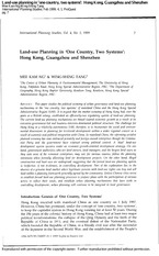 Land‐use planning in 'one country, two systems' Hong Kong, Guangzhou and Shenzhen