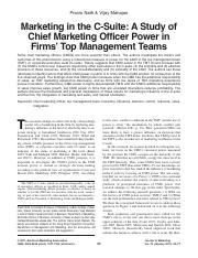 Marketing in the C-Suite