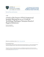 A Study of the Extent to Which Institutional Strategic Planning S_good
