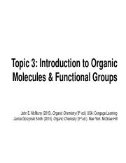 Topic 3. Introduction to Organic Molecules & Functional Groups