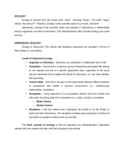Ecology Written Report (Topic 1)