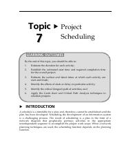 16150706Topic7ProjectScheduling