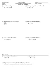 Factoring Quiz (Key Terms to Know Before Taking Calculus)
