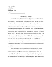 American Equality Essay