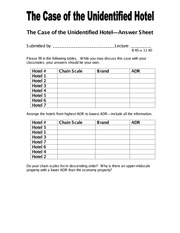case Answer Sheet