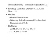 Lecture 12 on Electrochemistry