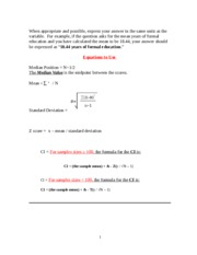 Z-Score Exercises witH Answers - Equations to Use Median Position ...