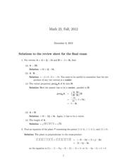 Math 023 Fall 2012 Final Review Sheet -solutions