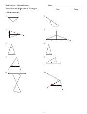 Worksheets Isosceles And Equilateral Triangles Worksheet 4 isosceles and equilateral triangles kuta software infinite geometry