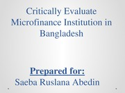Critically Evaluate Microfinance Institution in Bangladesh