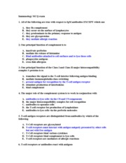 Immunology Exam Questions Sample