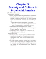 Chapter 3- Society and Culture in Provincial America