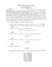 Exam 1 Version 2 Solution