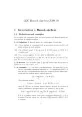 Lecture 1 on Introduction to Banach algebras