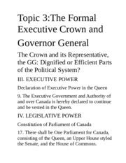 Lecture 3 - Crown and Governor General