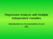Lecture 3 Regression Analysis with multiple Variables
