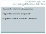 Transfer of Staff for International Business Activities (Presentation)
