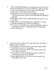 Chapter 23 Practice Questions  relating options to firm value