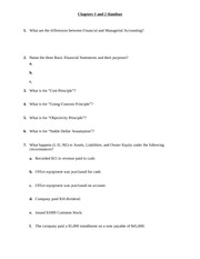 Principles of Accounting I Chapter 1 & 2 Handout