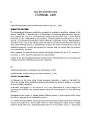 2016 CRIMINAL LAW BAR EXAMINATIONS ANSWERS